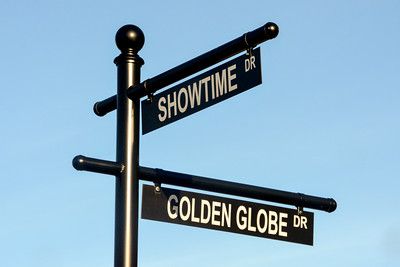 Showtime Drive and Golden Globe Drive street signs