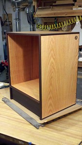 Multimedia cabinet : oak ply, imbuia edging, wenge kickplate