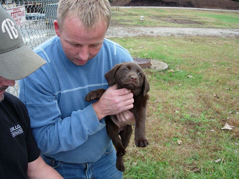 Jeff with his new puppy, (Dunkin?) a descendant of Jabo's (black shirt) 'Buckshot' and 'Sandie.'
