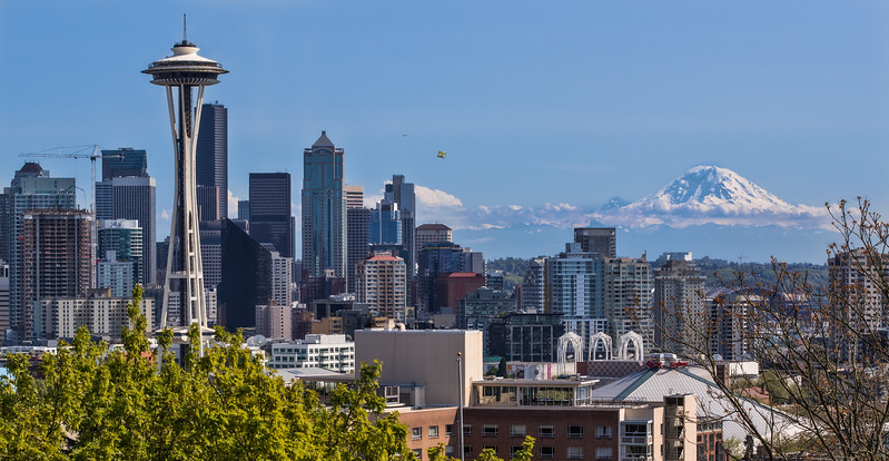 The Space Needle and Mt. Rainer