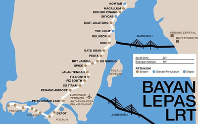 Bayan Lepas LRT route map