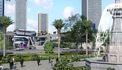 Cebu Monorail at fountain
