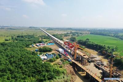 1st girder erection channel of Jakarta-Bandung HSR completes erecting