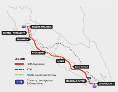 KL-Singapore HSR Route Map