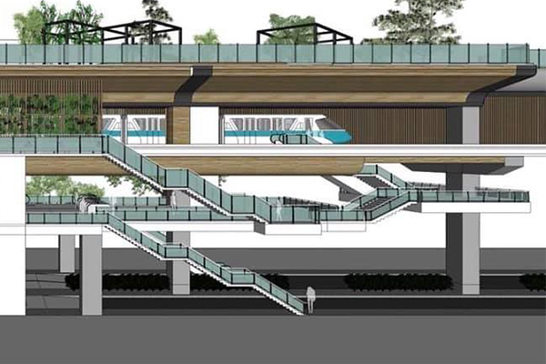 Elevated monorail station