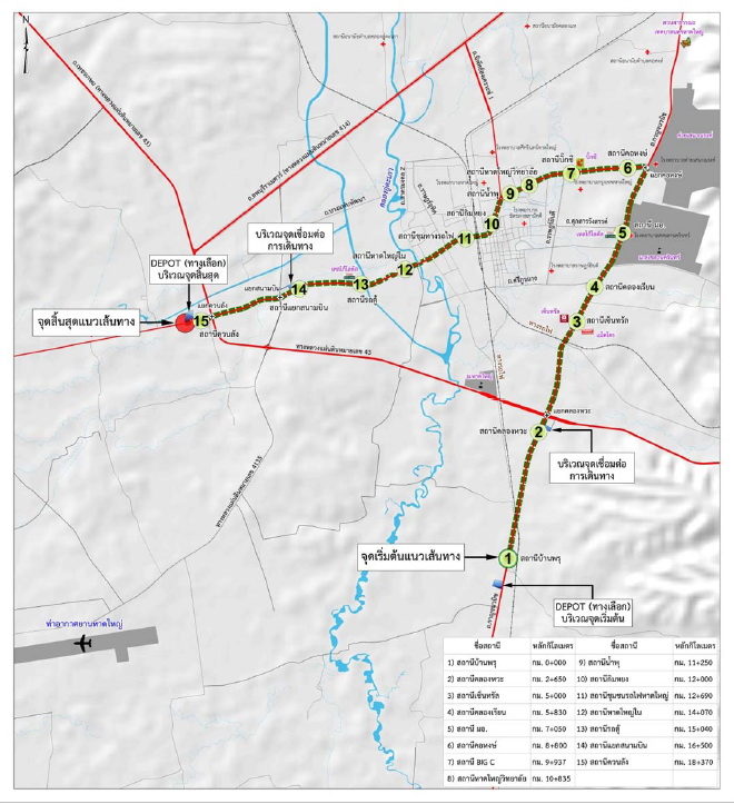 Hat Yai Monorail route map