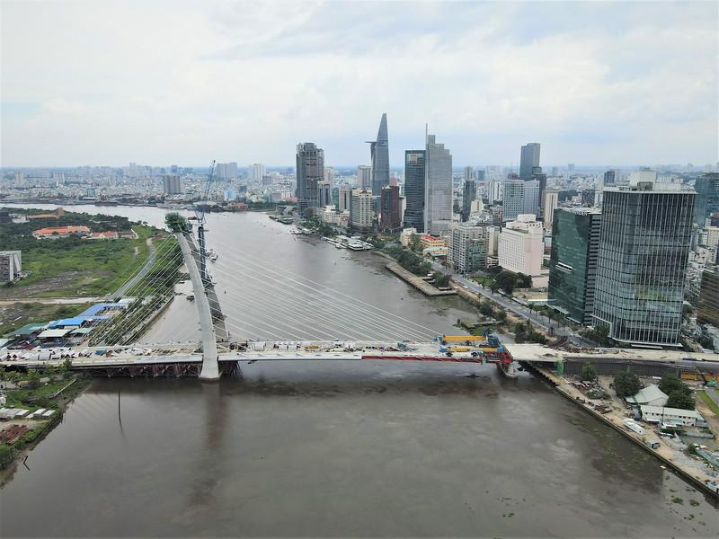 Steel beam installation complete on Saigon River's newest bridge