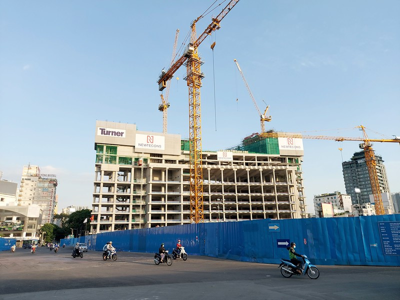 Construction view from Ben Thanh Market 18 June 2021