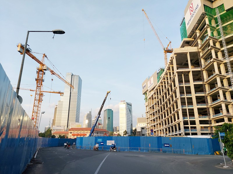 Construction view from Tran Hung Dao 18 June 2021
