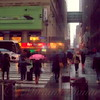Pink Umbrella - Seventh Avenue in the Rain - New York City Street Scene