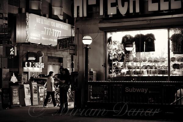 Nighthawks of New York - New York at Night - Subway Entrance - sepia