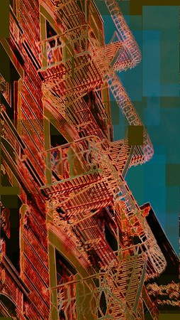 Vintage Curlicue Fire Escapes - Red - Old Buildings and Architecture of New York City