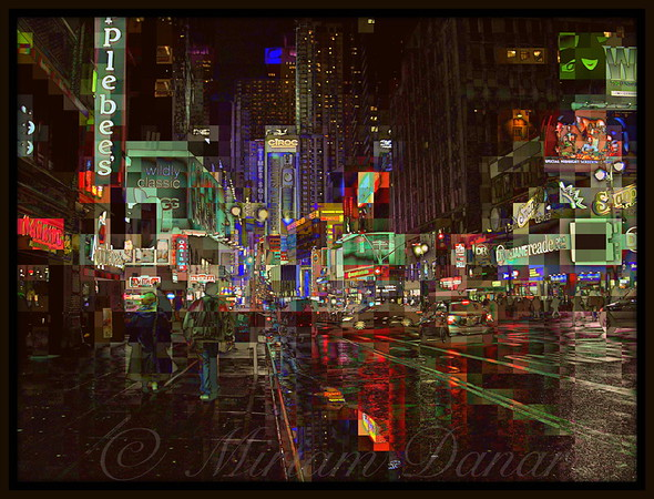 Times Square at Night, New York - After the Rain