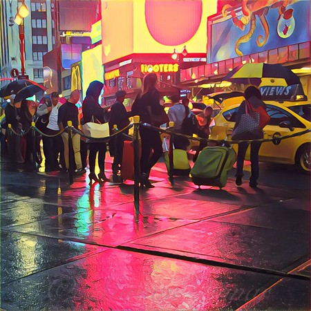 Taxi Line on a Saturday Night