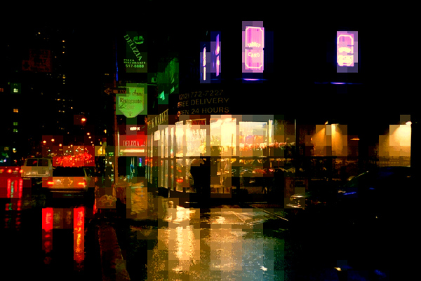 Corner in the Rain - The Lights of New York - New York City Street Scene