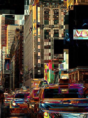 Macys and Taxis on 7th Avenue - New York Street Scene
