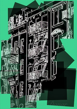 Fire Escapes in Jazz Green - Old Buildings and Architecture of New York City