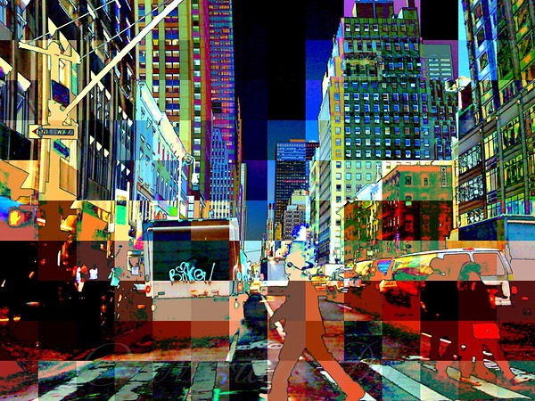 Psychedelic City - Pop Art New York City Street Scene
