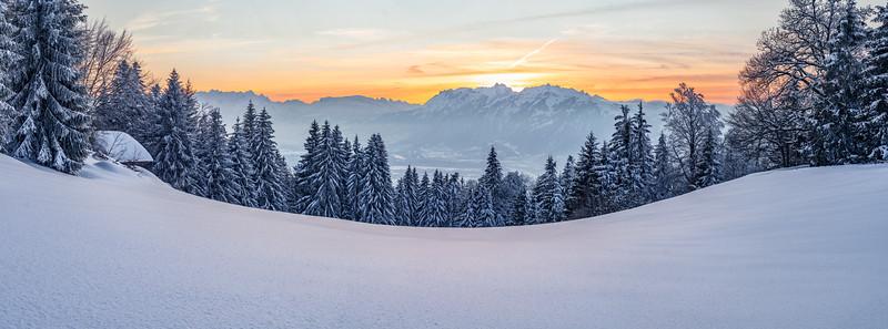 Oberhalb von Götzis mit Blick auf die Schweizer Berge