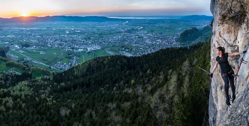 Am Klettersteig über dem Rheintal