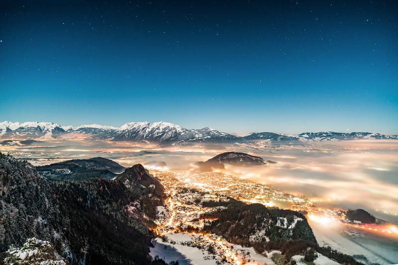 Winternacht oberhalb von Götzis