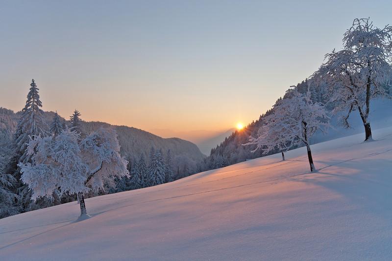 Sonnenuntergang oberhalb von Götzis