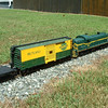 Engine 205 in run 8: Engine 205 with modest train makes good time across the flat lands