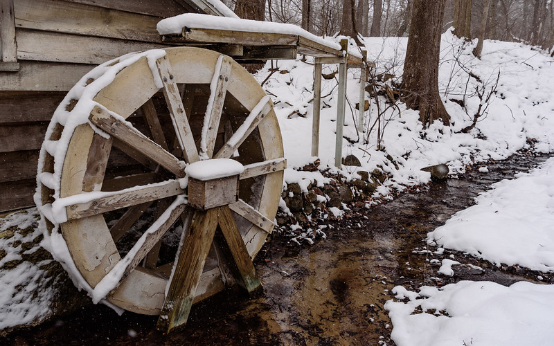 frozen wheels - water wheel at Fernwood Botanical Garden and Nature Preserve