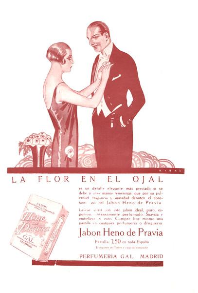 GAL Heno de Pravia soap 1926 Spain 'La flor en el ojal...'