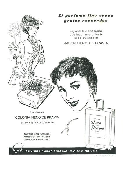 GAL Heno de Pravia 1956 Spain (format 13 x 18 cm) 'El perfume fino evoca grandes recuerdos'