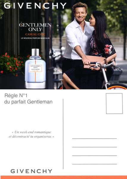 GIVENCHY Gentlemen Only Casual Chic 2015 France recto-verso postcard formaat 15 x10,5 cm 'Règle Nº 1 du parfait Gentleman - Un week-end romantique et décontracté tu organiseras'