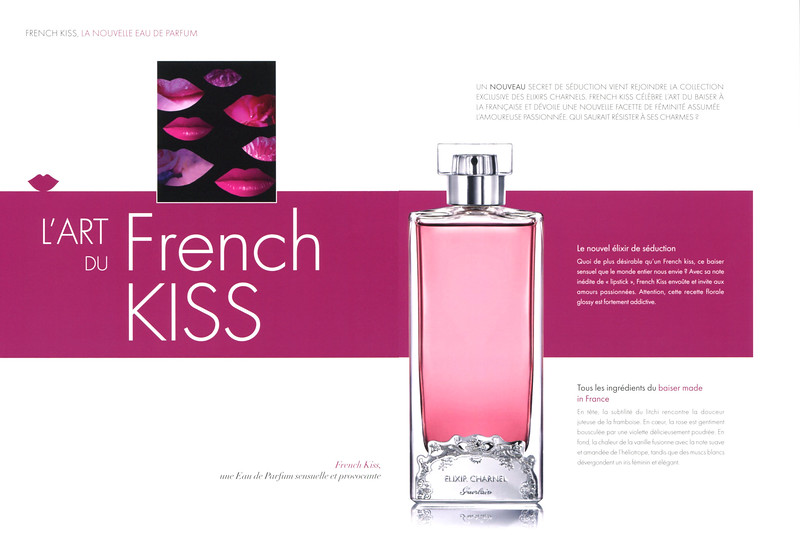 GUERLAIN Elixir Charnel French Kiss 2014 France (Parisienne magazine) 'La nouvelle Eau de Parfum - L'art du French kiss'