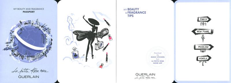 GUERLAIN La Petite Robe Noire Eau de Parfum Intense 2016 France <br /> (4-face folding card (10 x 15 cm when folded) <br /> 'My beauty and fragrance passport'