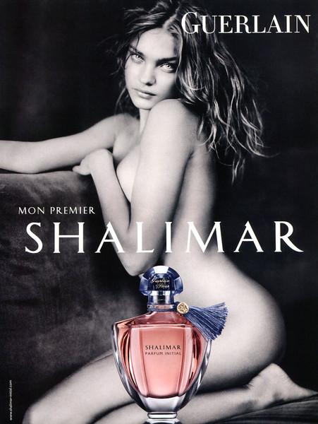 GUERLAIN Shalimar Parfum Initial 2011 France 'Mon premier Shalimar' - slogan in white letters