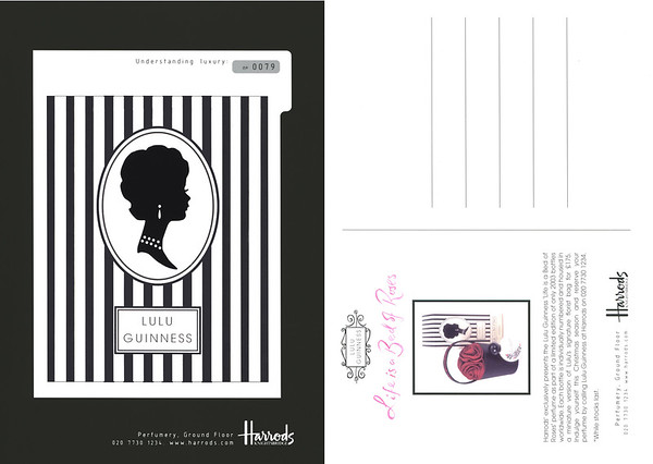 LULU GUINNESS Life Is a Bed of Roses 2003 UK (Harrods stores) numbered recto-verso postcard 15 x 21 cm 'Understanding luxury'