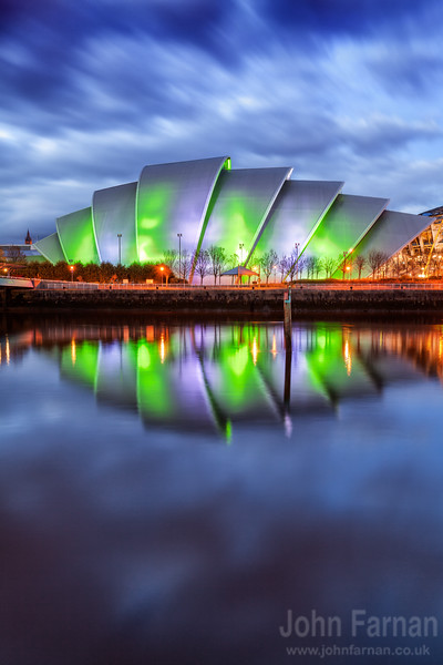 Glasgows very famous SECC lit up in the early evening light A Stunning Glasgow Print  Also available as a fine art canvas or wonderfully evocative acrylic print. Glasgow has never looked better  All images are printed just outside Glasgow and delivered anywhere in the world