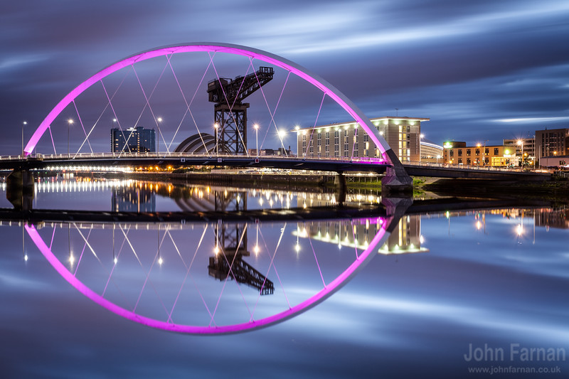 Another from my Glasgow collection.The Clyde Arc or Squinty Bridge as its known by us locals is a stunning structure by day but by night its truly magnificent On a still night the River Clyde becomes like a sheet of glass you could try and walk across.Glasgow a real city of the night.