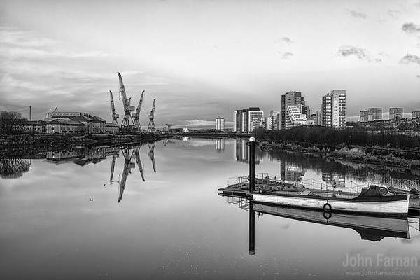 Perfectly still perfectly calm the mighty Clyde River runs through Glasgow rare still or calm it looked like glass on Boxing Day morning A Stunning Glasgow Print  Also available as a fine art canvas or wonderfully evocative acrylic print. Glasgow has never looked better  All images are printed just outside Glasgow and delivered anywhere in the world