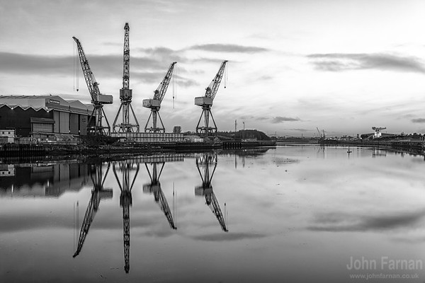 The iconic cranes at BAE systems in Glasgow