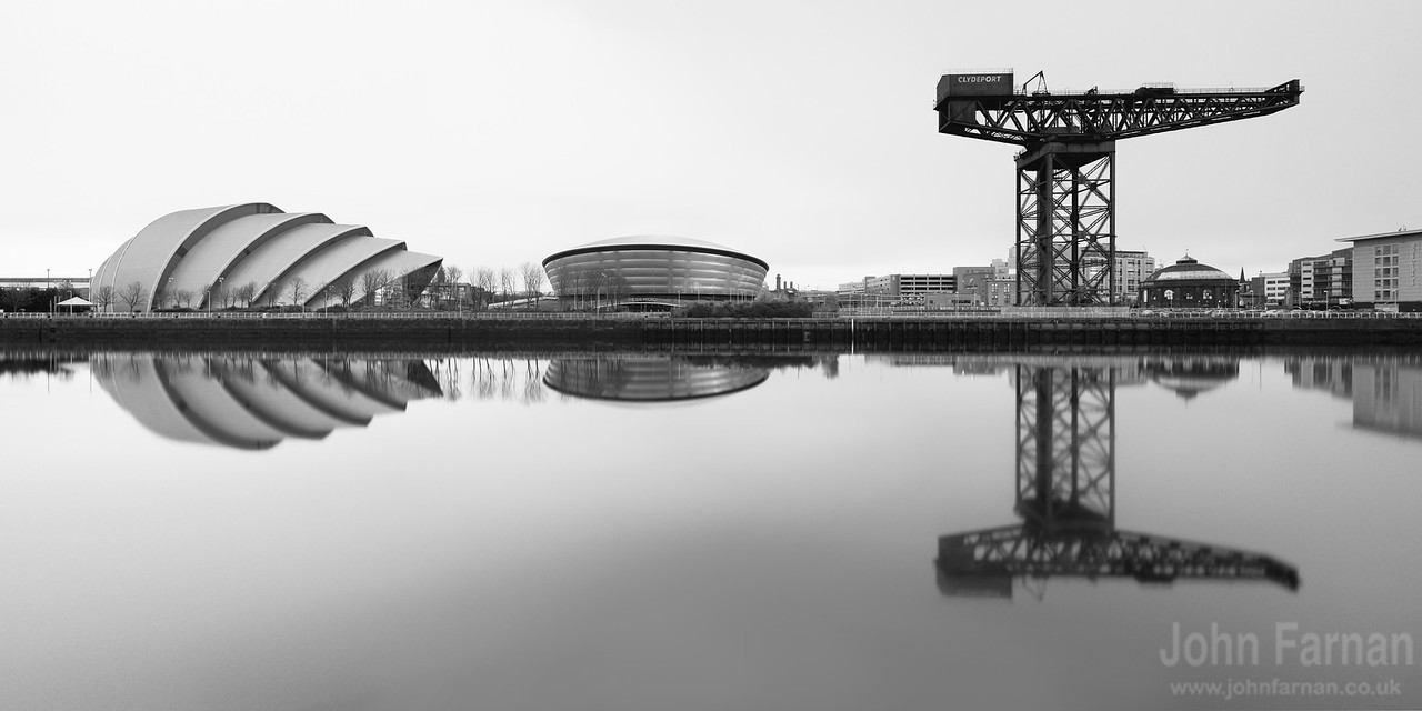 Glasgow Skyline Panorama black and white
