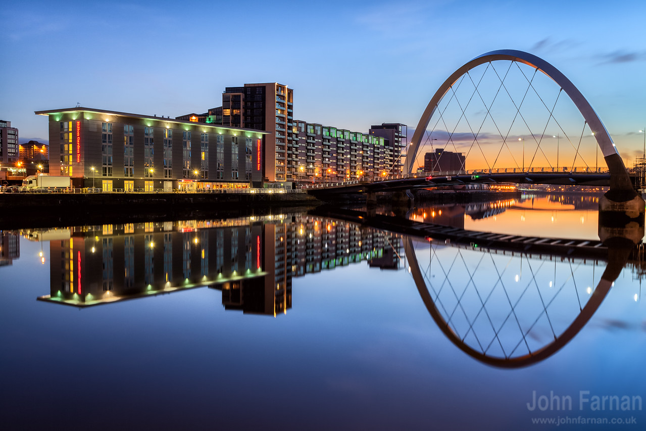 A Stunning Glasgow Print  Also available as a fine art canvas or wonderfully evocative acrylic print. Glasgow has never looked better  All images are printed just outside Glasgow and delivered anywhere in the world    The Clyde Arc showing even more wonderful colours in the slightly pre dawn of a very frosty and cold November morning