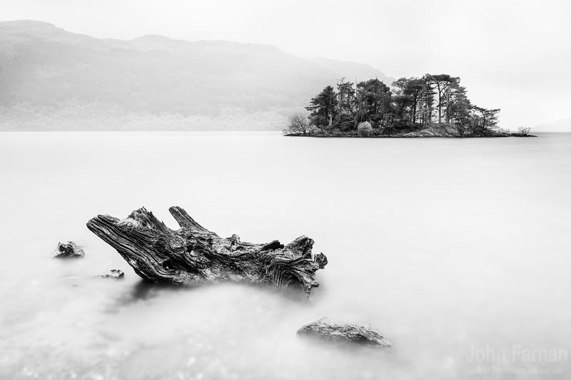 Tarbet Isle Loch Lomond monochrome