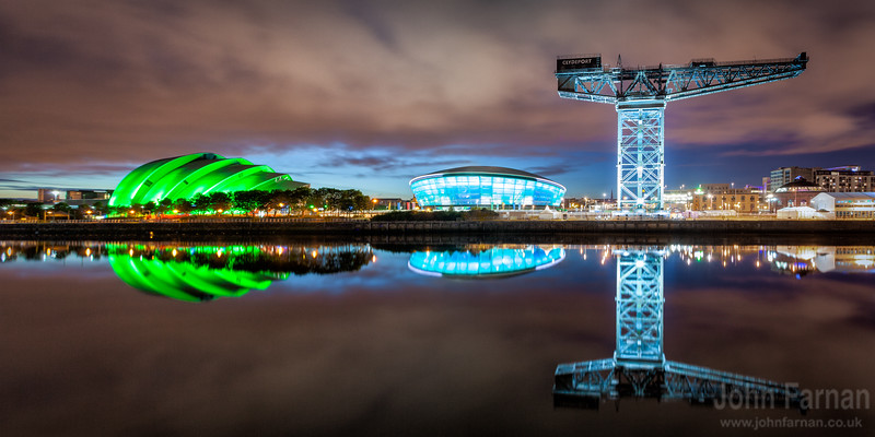 Glasgow Clydeside panorama night time. Finnieston crane lit up