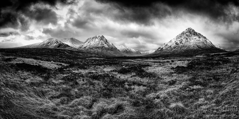 The Entrances to Glen Etive and Glencoe black and white panorama