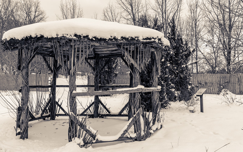 monochrome winter - gazebo at Fernwood Botanical Garden and Nature Preserve