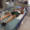 Accident victim getting care at the hospital after bike accident