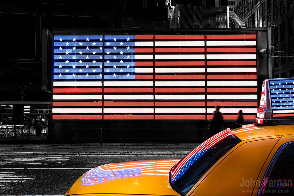 Times Square Stars and Stripes with Classic NYC Taxi Cab