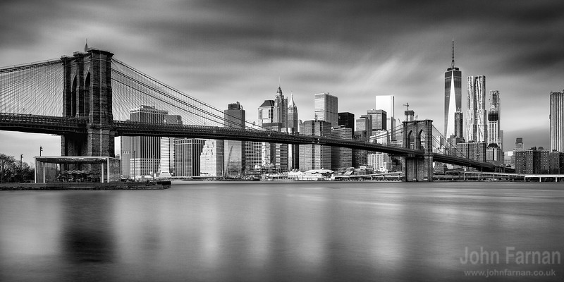 Brooklyn Bridge and 1 world trade centre panorama