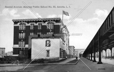 31st Street (formerly 2nd Avenue) and 24th Avenue (formerly Howland) looking north to PS 85 now the Judge Charles F. Vallone School.