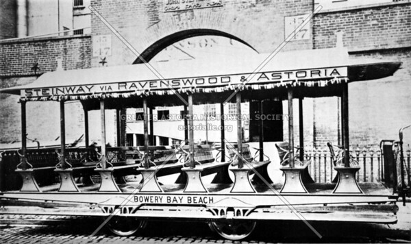1886 horsecar that head towards Bowery Bay Beach, typical of the cars found on the rail line set up by the Steinway company at this time.